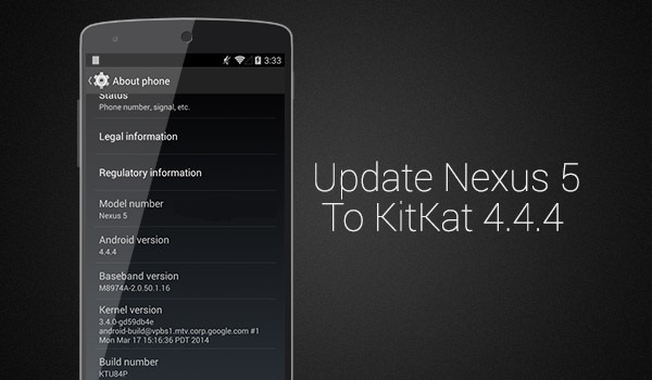 Install Android 4.4.4 Kitkat Factory Image on Nexus 4, 5, 6, 7 and 10 devices How to Install Android 4.4.4 Kitkat Update on Nexus 5