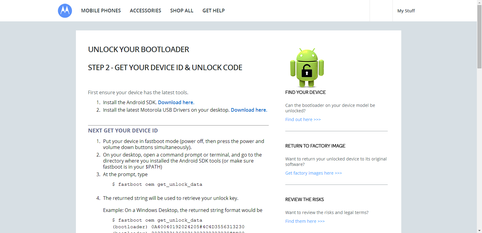 Unlock Bootloader of Motorola Devices