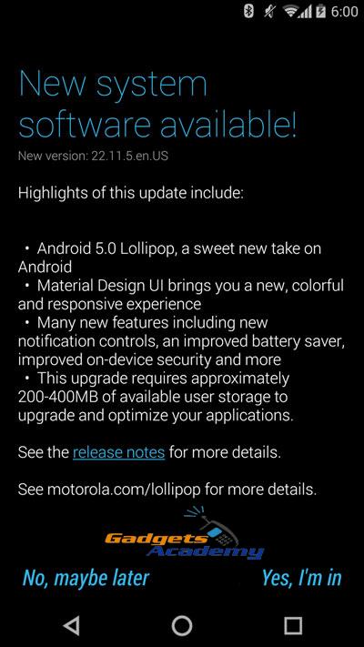 Install Android 5.0 Lollipop OTA on Moto X 2014 Pure Edition XT1095