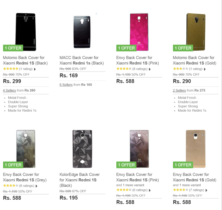 Redmi 1S Accessories flipkart