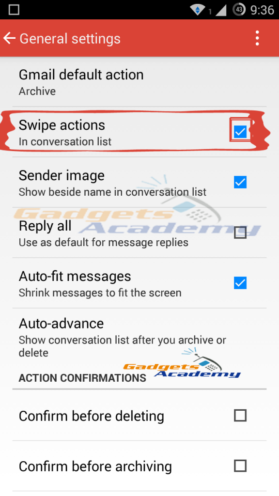 Gmail: Enable Swipe to delete or archive E-Mails or Messages