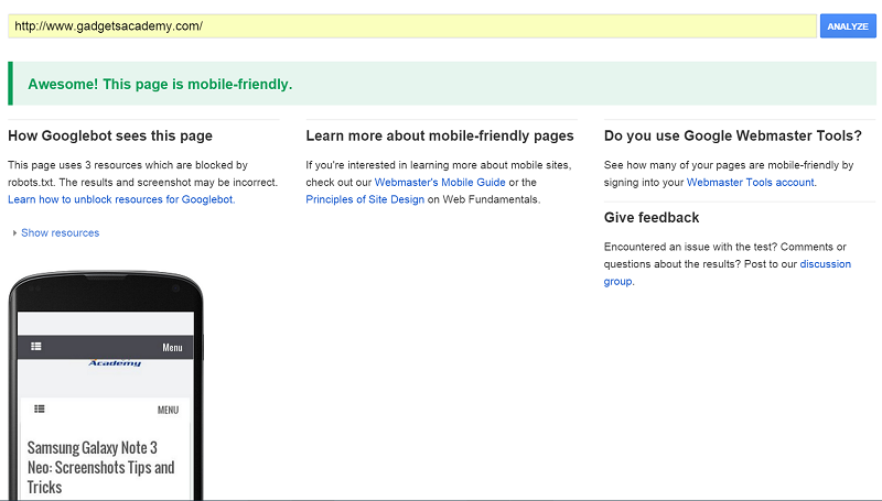 Google Mobile friendly websites