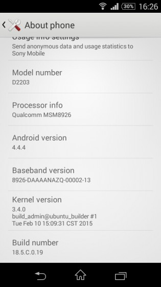 Sony Xperia-E3 Android 4.4.4 18.5.C.0.19-315x560