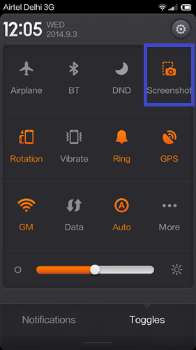Xiaomi phones screenshot from notification panel