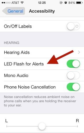 iPhone enable LED light 1
